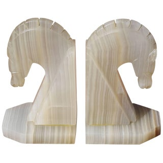 Carved Onyx Horse Head Bookends For Sale