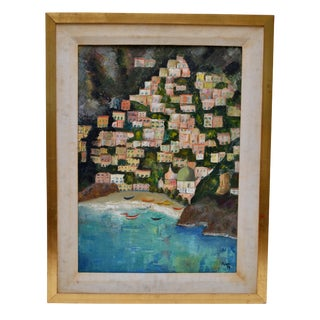 Framed Original Pucci '76 Oil on Canvas of Positano