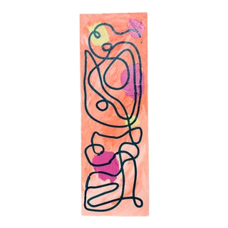 Orange, Pink and Green Abstract on Canvas For Sale