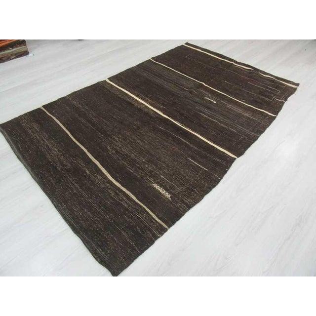 Vintage Turkish White Striped Black Goat Hair Kilim Rug - 5′2″ × 8′3″ For Sale - Image 4 of 6