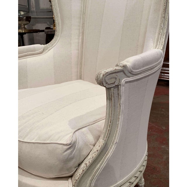 Textile 19th Century Louis XVI Carved Painted Bergere Armchair For Sale - Image 7 of 13