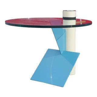 Saporiti Italia Postmodern Glass and Painted Steel Side Table For Sale
