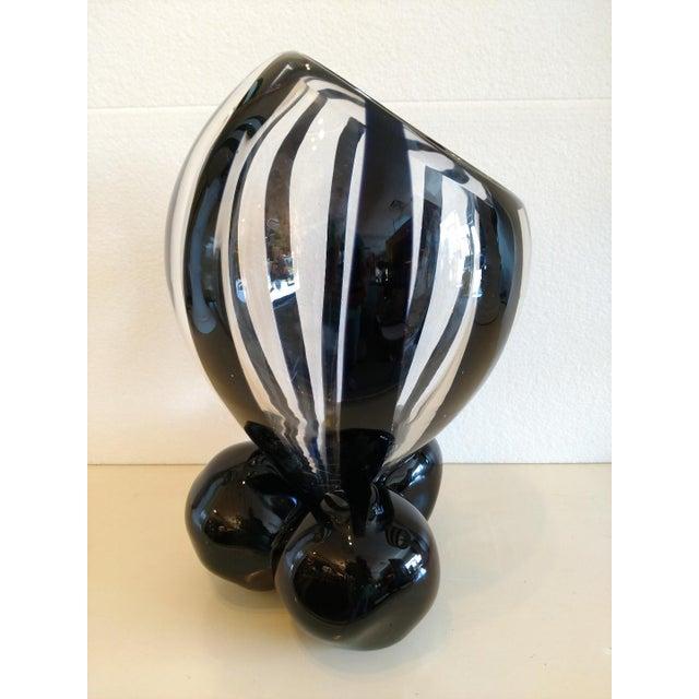 Pino Signoretto Pino Signoretto, Murano Black/Clear Art Glass Vase on Stand For Sale - Image 4 of 12