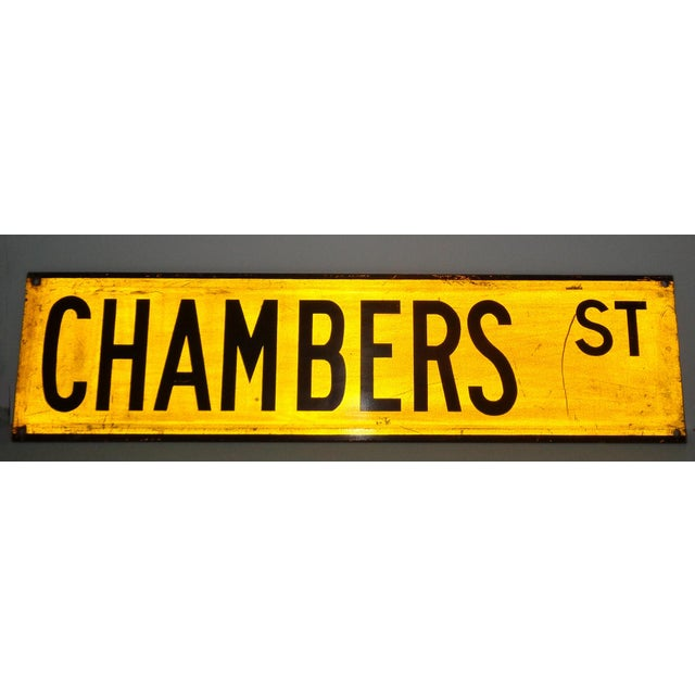 """American 1960s New York City Yellow Reflective Street Sign """"Chambers St"""" - Tribeca For Sale - Image 3 of 3"""