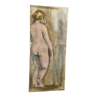 Vintage Watercolor Nude Study Unsigned For Sale