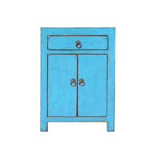 Distressed Pastel Bright Blue Lacquer Drawer End Table Nightstand For Sale