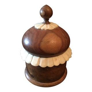 Formanorisms of India Shemshaw Wood Round Trinket Box For Sale