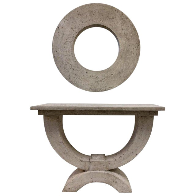 Faux Stone Console Table and Mirror by Michael Taylor For Sale