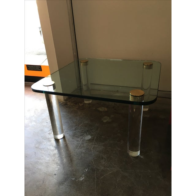 Mid Century Modern Pace Glass, Brass & Lucite Small Coffee / Cocktail Table or Occasional Table - Image 2 of 10