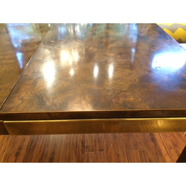 Modern Brass & Burlwood Parson Dining Table - Image 5 of 6