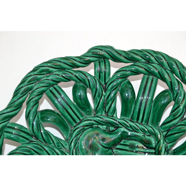 Emerald Vallauris France Glazed Woven Ceramic Basket Emerald Green Bambi 1955, Pottery For Sale - Image 8 of 13