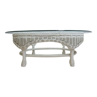 Vintage Quality Custom Wicker Patio Serving Coffee Table For Sale