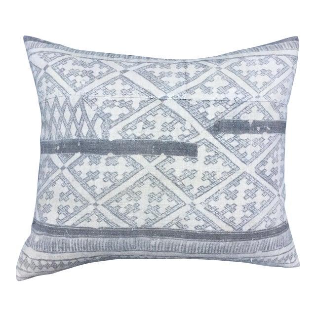 Silver Cross Linen Batik Pillow - Image 1 of 6