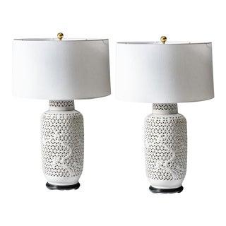 1950's Blanc De Chine Pierced Porcelain Table Lamps, A-Pair For Sale