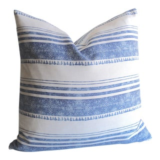 Chambray Tassel Print Linen Pillow Cover For Sale