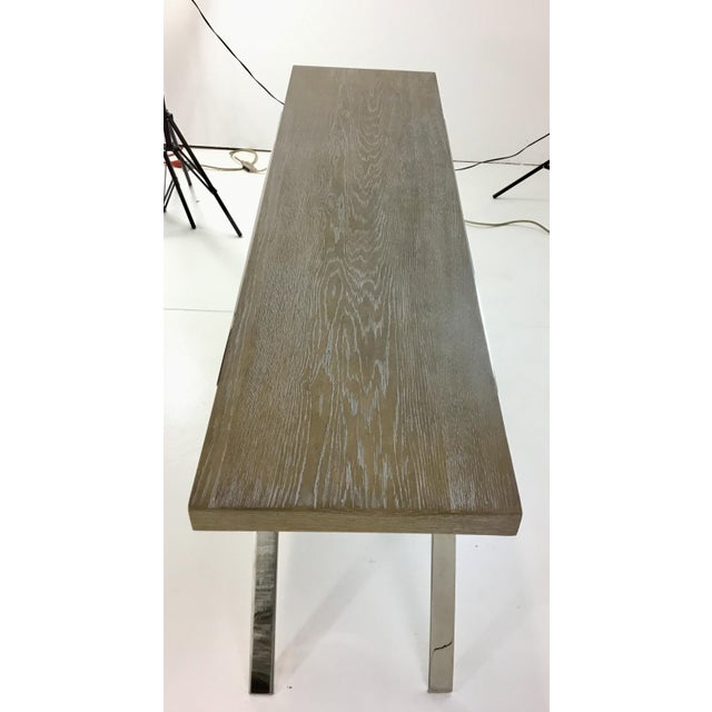 Stylish organic modern Interlude Home Kiren console table, nickel base with a medium wood top, showroom floor sample,...