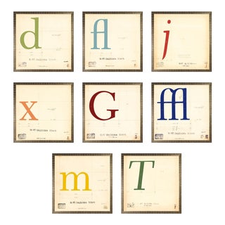 Vintage Mechanical Prints of Roman & Italic Fonts - Set of 8 For Sale