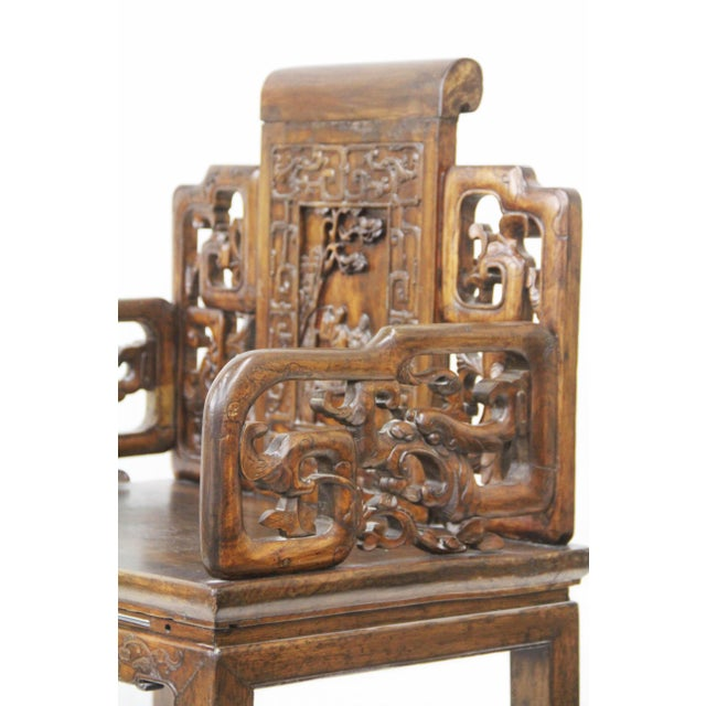 Antique Chinese Qing Armchairs - A Pair - Image 6 of 8