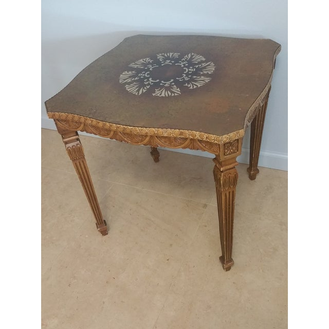 Vintage French Style Hollywood Regency Glass Top Table - Image 3 of 4