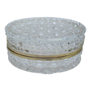 Vintage: C1930s-50s, Oval-Shaped, Cut Crystal Glass Beveled Jewelry Casket, Keepsake Box For Sale