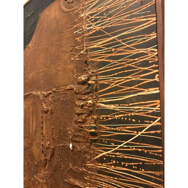 MCM Fine Abstract Oil on Board Signed by Michels Dated 1961, 'Copper Bleeding' For Sale - Image 9 of 11