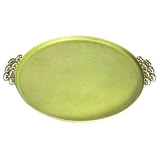1950's Chinoiserie Mid-Century Avocado Green Round Moire Glaze of California Tray For Sale