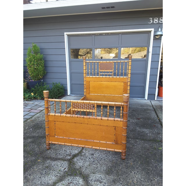 1940s Vintage Birdseye Maple and Faux Bamboo Bed For Sale - Image 4 of 6