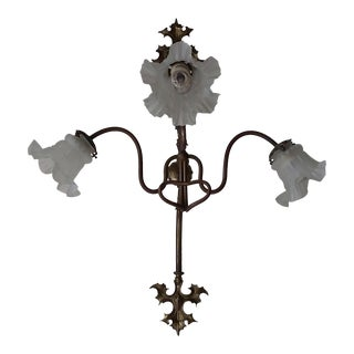 Antique Medieval Style Gas/Electrical Sconce For Sale