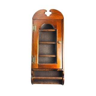 Vintage Mid-Century Glass Door Hanging Display Cabinet With Paper Towel Holder