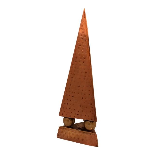 Hammered Copper & Brass Pyramidal Obelisk For Sale