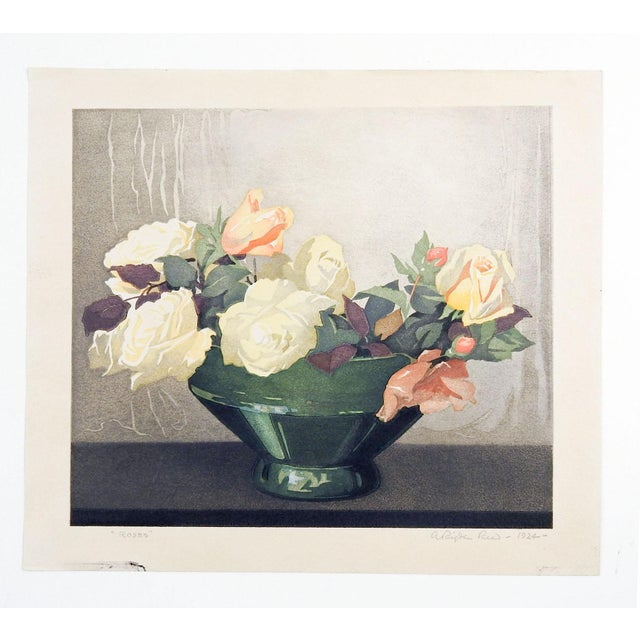 1920s Roses Woodcut by Arthur Rigden Read For Sale - Image 5 of 5