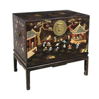 1990s Chinese Painted Wooden Chest