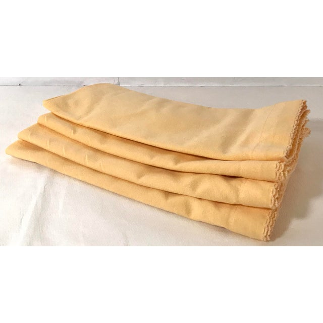 Yellow Vintage Yellow Dinner Napkins - Set of 4 For Sale - Image 8 of 8