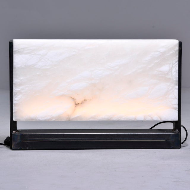 Hand Carved Italian Alabaster Rectangular Led Table Lamp For Sale - Image 10 of 13