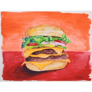 Still Life Cheeseburger Painting by Cleo For Sale