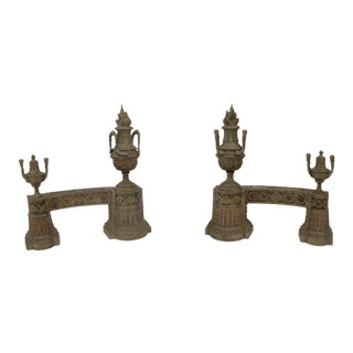 Antique Ornate Torche Brass Andirons For Sale