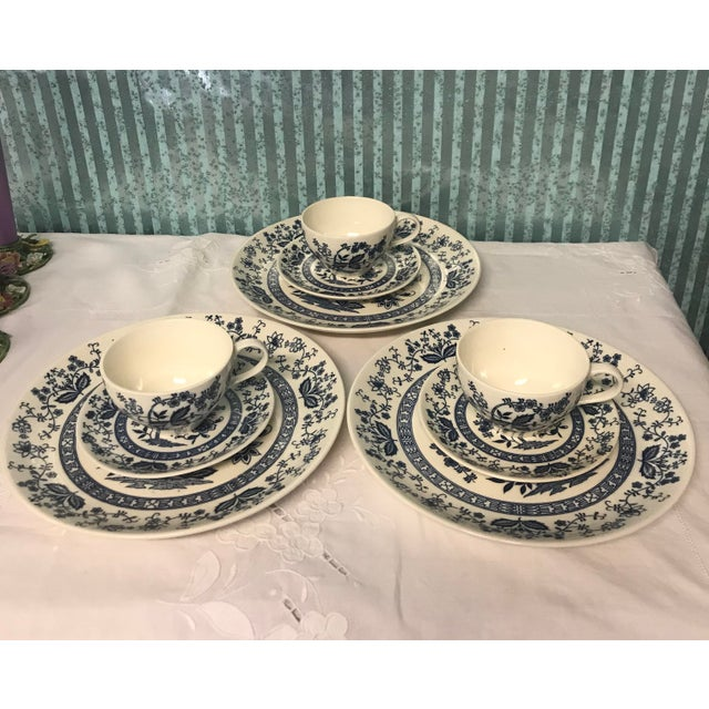 Blue Onion Hand Painted Dinnerware - Service for 3 For Sale - Image 10 of 10