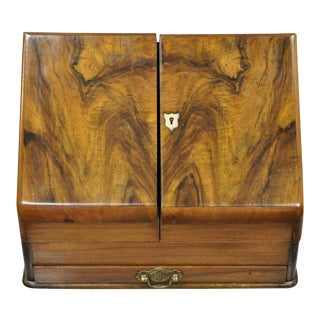 English Edwardian Burl Walnut Mahogany Brass Stationary Writing Desk Letter Box For Sale