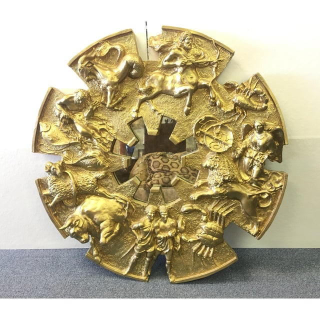 Gold Vintage 1970's Zodiac Figural Mirror For Sale - Image 8 of 8