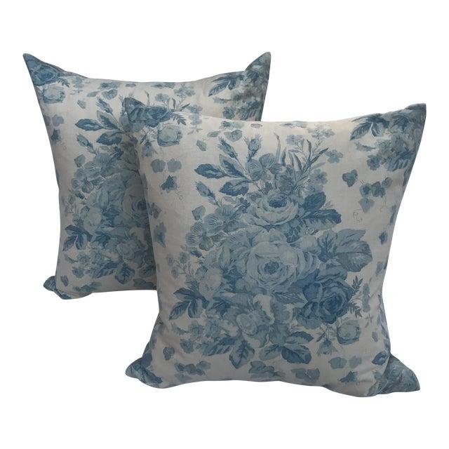 """Ralph Lauren """"Faded Bouquet"""" Blue & White Floral Pillows~Pair For Sale"""