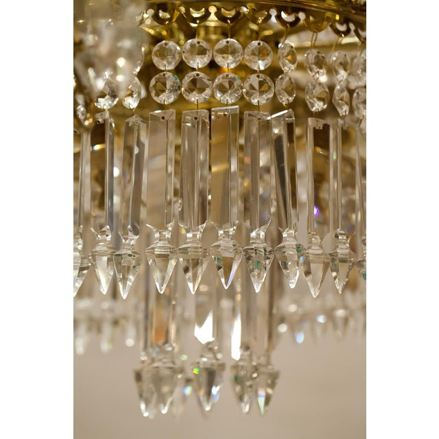 Brass and Crystal Gasolier For Sale - Image 12 of 13