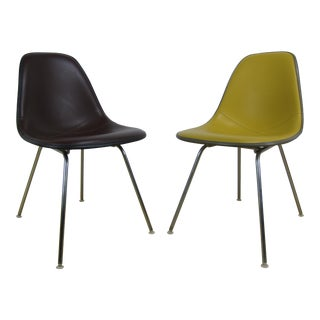 Eames for Herman Miller Fiberglass & Naugahyde Side Chairs - a Pair