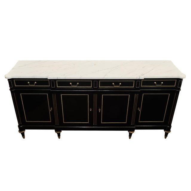 Gold Louis XVI Ebonized Mahogany Buffet With Carrara Marble Top For Sale - Image 8 of 11