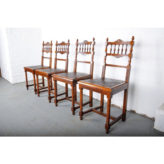 French Antique Set of 4 French Henri II Oak Dining Chairs For Sale - Image 3 of 13