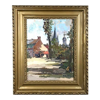 Antique Framed Oil Painting on Canvas by Anne-Marie Ledoux For Sale