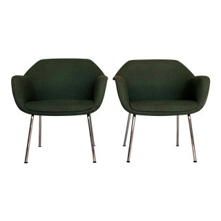 1960s Eames Egg Style Shell Emerald Green Armchairs - a Pair For Sale