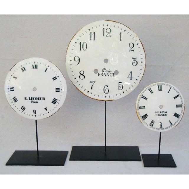Porcelain & Metal Clock Faces on Stands - Set of 3 For Sale - Image 10 of 10