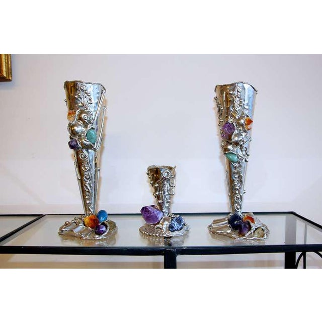 Metal Vases With Semi-Precious Stones- Set of 3 For Sale - Image 10 of 10