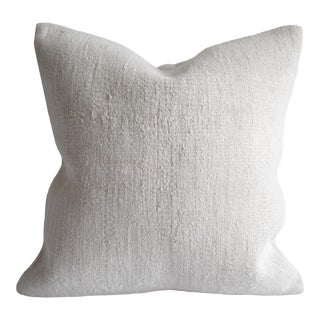 Vintage Turkish Rug Hemp Pillow Cover in Off-White For Sale