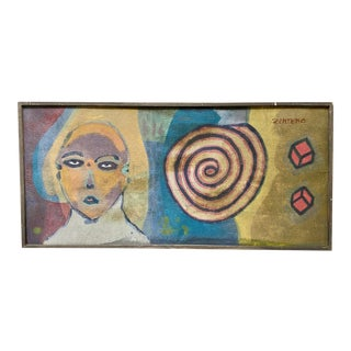 Vintage 1970s Mexican Surrealist Face Painting Sergio Zenteno For Sale